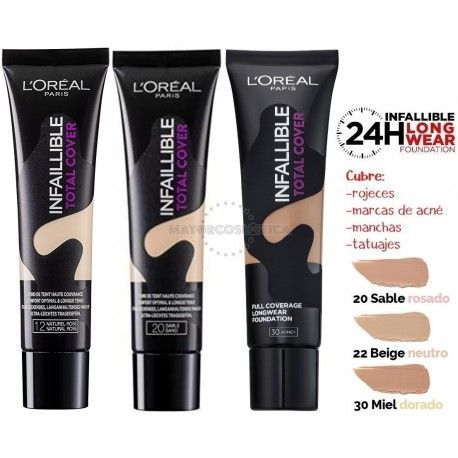 5 Uds x L'OREAL INFALLIBLE TOTAL COVER MAQUILLAJE - 3 TONOS (MIX 2)