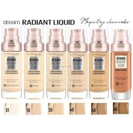 6 Uds x MAYBELLINE DREAM RADIANT LIQUID MAQUILLAJE - 6 TONOS