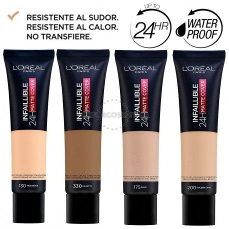 6 uds x L'OREAL INFALLIBLE 24H MATTE-COVER MAQUILLAJE - 4 TONOS