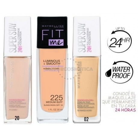 6 Uds x MAYBELLINE SUPERSTAY Y FIT ME MIX MAQUILLAJES - 3 TONOS
