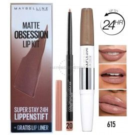2 Uds x MAYBELLINE MATTE OBSESSION PINTALABIOS + PERFILADOR - 615 / 20