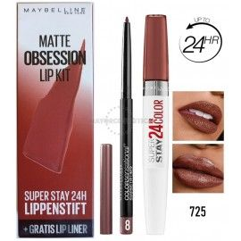 2 Uds x MAYBELLINE MATTE OBSESSION PINTALABIOS + PERFILADOR - 725 / 8