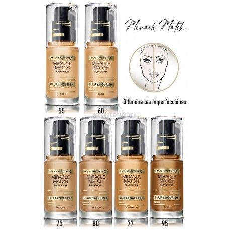 7 Uds x MAX FACTOR MIRACLE MATCH MAQUILLAJE - 6 TONOS